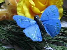 Bright Coloured Blue Feather Butterfly - 6.0cm - Set of 2 -  Craft Decorations