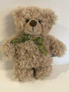 "New HARRODS Beige Tan Plush TEDDY BEAR Animal Green Ribbon Soft Toy 10"""