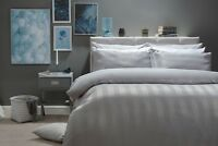 Textured Waffle Stripe Cotton Rich Jacquard Duvet Set Single Size Pale Grey