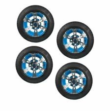 "Blue Python 10"" Golf Cart Wheels & Tires- Set of 4"