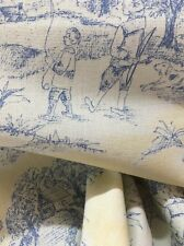 Toile. Cotton Duck, children , Drapery/light Upholstery Fabric By The Yard,blue