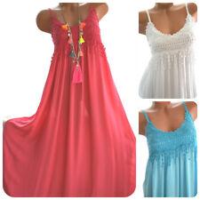 Sommerkleid Maxikleid Häkelkleid 13 Farben Boho Ibiza Kleid lang 36/38 Neu Italy