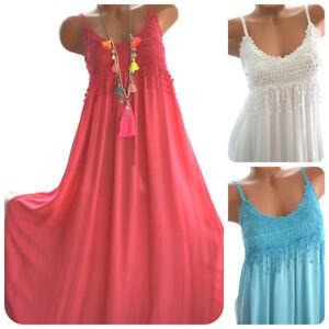 Damen Kleid BOHO Ibiza Sommerkleid Maxikleid Häkelkleid 36/38 Neu Italy