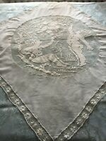 Beautiful Vintage Tablecloth With Handmade Lace
