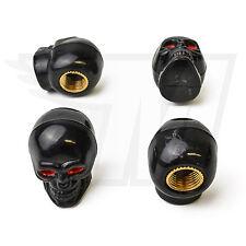4x Tapón De La Válvula AUS plástico para Neumáticos coche, Cráneo en Negro