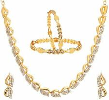 Fashion Jewellery American Diamond Designer Gold Plated Necklace Set Bangles