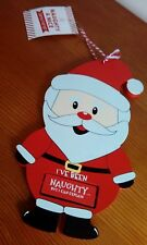 Childs Wooden Santa Chrstmas naughty/nice hanging plaque/sign.