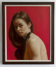 Original Framed Oil Painting Female Girl artwork woman portrait brunette realist