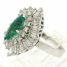 Estate 14k White Gold Over 2.50ct Emerald and Diamond Cocktail Cluster Ring