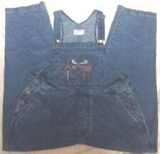 Christopher & Banks womens Medium Overall Jeans Bib Pocket Moose design