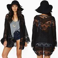 Women Boho Lace Chiffon Crochet Kimono Bikini Cover Up Blouse Beach Cardigan Top