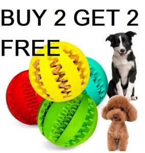 Pet Ball Dog Ball Durable Rubber Chew Teething Treat Clean Puppy Toy Buy 2 Get 4