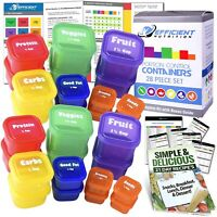 28 Pcs Fix Portion Control Containers Kit Beach Body Food Plan Diet Weight Loss