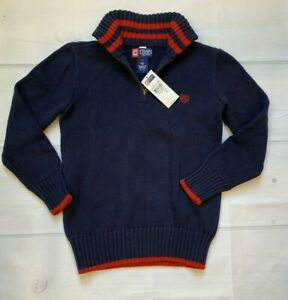 NWT Chaps by Ralph Lauren Red Navy Blue 1/4 Zip Sweater Boys Size 7