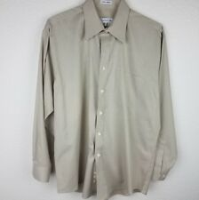 Joseph & Feiss Men' Beige Textured No Iron Long Sleeve Dress Shirt EUC 16.5