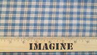 Primitive Tea Dye Tan Blue Cotton Rag Quilt Plaid Homespun Craft Doll Fabric
