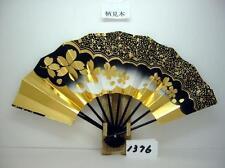 JAPANESE Sensu Fan With the wind Folding  NEW GOLG BLACK 1376