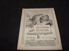 JOAN CRAWFORD 1955 Oscar ad for FEMALE ON THE BEACH, Jeff Chandler