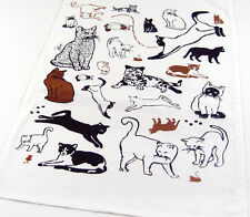 Cat Kitchen Towel | Cat and Mouse Pictorial | Cotton | White | Free US Shipping