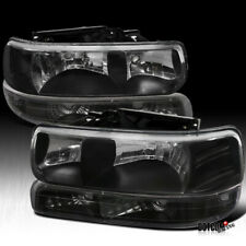 Fit Chevy 1999-2002 Silverado Black Headlights w/ Bumper Signal Lamps Light Pair