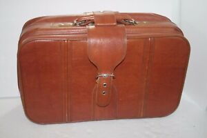 Vintage Sears Brown Leather Suit Case Carry On Luggage 22x13x7