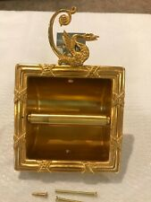 SHERLE WANGER 22K GOLD PLATED PHYLRICH SWAN TOILET PAPER HOLDER