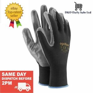 🧤 1,12,24 NEW NITRILE COATED WORK GLOVES 🧤 BUILDERS GARDENING CONSTRUCTION DIY
