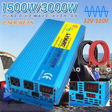 Pure sine wave power inverter 1500w 3000w 12v to 110v 120v car converter camping