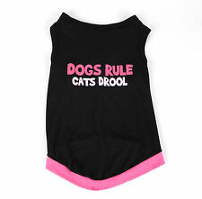 Small Dogs Rule Cats Drool Black Pet Shirt. Size S Clothes Puppy Top Vest