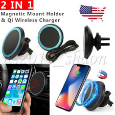 2 IN 1 Qi Wireless Charger Magnetic Car Mount Holder For iPhone X 8 Samsung S8