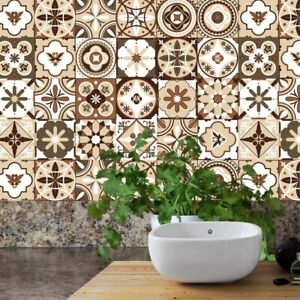 20x Mosaic Tile Wall Stickers Moroccan Transfers Style Home Self-Adhesive Decor