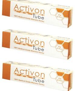 3 X Activon Tube Medical Grade Manuka Honey For Wounds & Burns & First Aid 25g