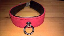 Leder Halsfessel von Wild Thing by ZADO Halsband Ring Rot verstellbar Choker