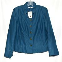 Coldwater Creek Dark Teal Zig Zag Stitch Design Womens Jacket Size 12P NWT