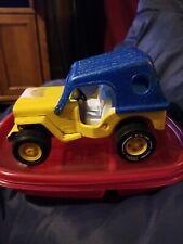 "Vintage Tonka Pressed Steel Honey Bucket Jeep Yellow 1970s 6.5"" Usa"