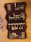 Antique 1889 Singer Sewing Machine Wooden Puzzle Box with Attachments