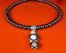 Magnetic Hematite Circle Necklace, Sunstone Moonstone Healing Jewellery