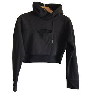 Gymshark Hooded Pullover Size Small Cut Out Keyhole Black Long Sleeve Sweatshirt