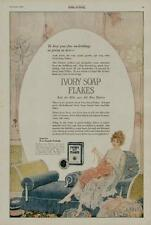 1920 IVORY SOAP FLAKES AD / DAINTY VINTAGE WOMAN SEWING SCENE....