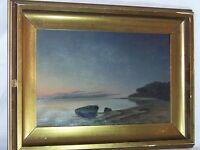 *Marius Nielsen* Listed Danish Artist Antique Seascape Oil On Canvas Painting