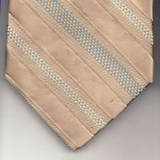 NEW Calvin Klein Silk Neck Tie Stone Beige with Light Blue Stripes and Dots 877