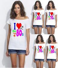 ladies 1980s 1970s 1960s 1990s off the shoulder Hot Retro Sexy Sizes XS TO 4X