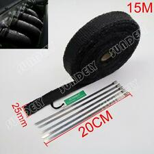 Black Exhaust Header Heat Pipe Wrap Tape Turbo 15m x 25mm + 5 Ties Motorcycle