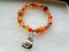 Halloween bracelet Orange swarovski Crystal 8mm  beads pumpkin charm