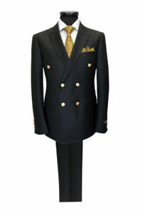 PAMONI Black Double Breasted Suit With Gold Button