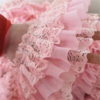 50CM Pink Chiffon Ruffle Lace Trim 3 Layer Pleated Ribbon Sewing 3.94'' Width
