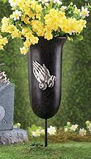 Memorial Praying Hands Flower Vase Stake Outdoor Garden Yard Grave Cemetery