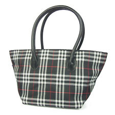 Auth BURBERRY BLUE LABEL Nova Check Plaid Nylon Leather Tote Hand Bag F/S 652