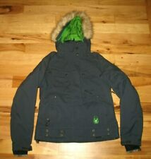 Spyder Navy Blue Nylon Thinsulate Mid Weight Faux Fur Hood Jacket Womens XSmall
