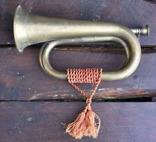 Vintage Brass Bugle With Original Tassles, Chained Mouth Piece